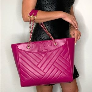 Tory Burch Quilted Leather Fuchsia Alexa Flat Tote